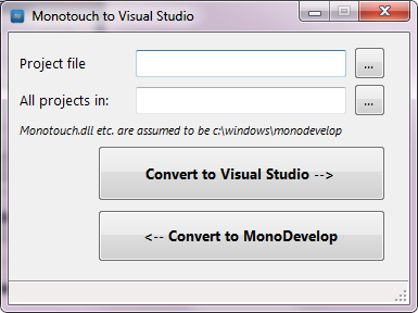 Monodevelop to visual studio